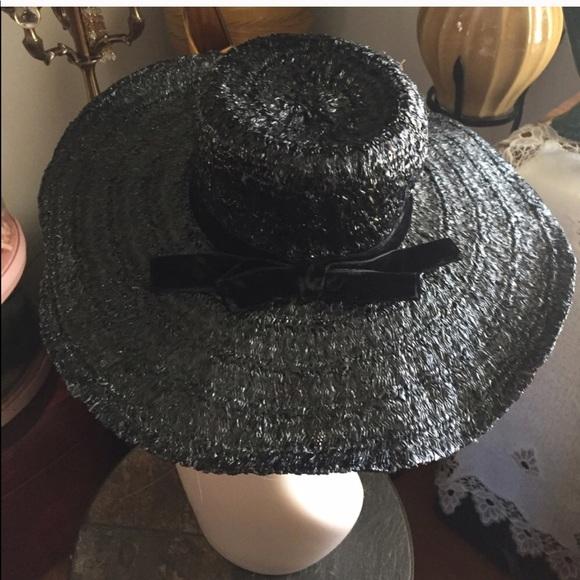 Vintage Black Straw Molded Floppy Hat a756768c46c3